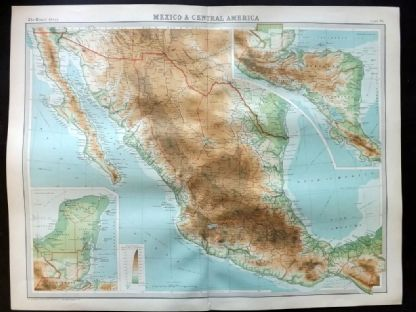 Bartholomew 1922 Large Map. Mexico & Central America